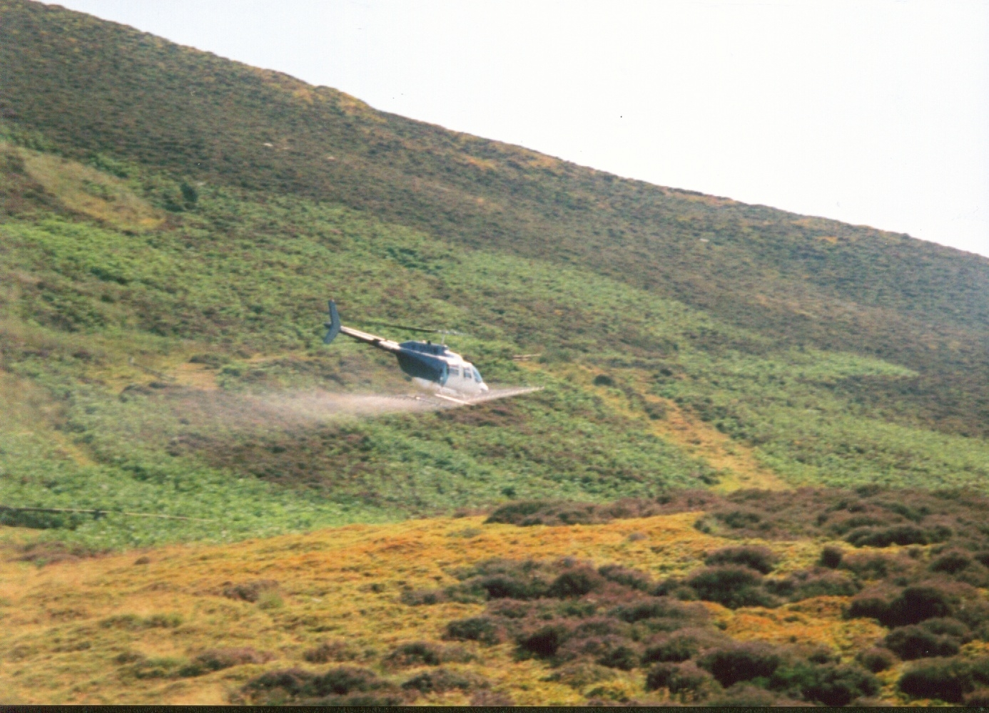 Bracken being sprayed on a remote mid Wales mountain pasture.